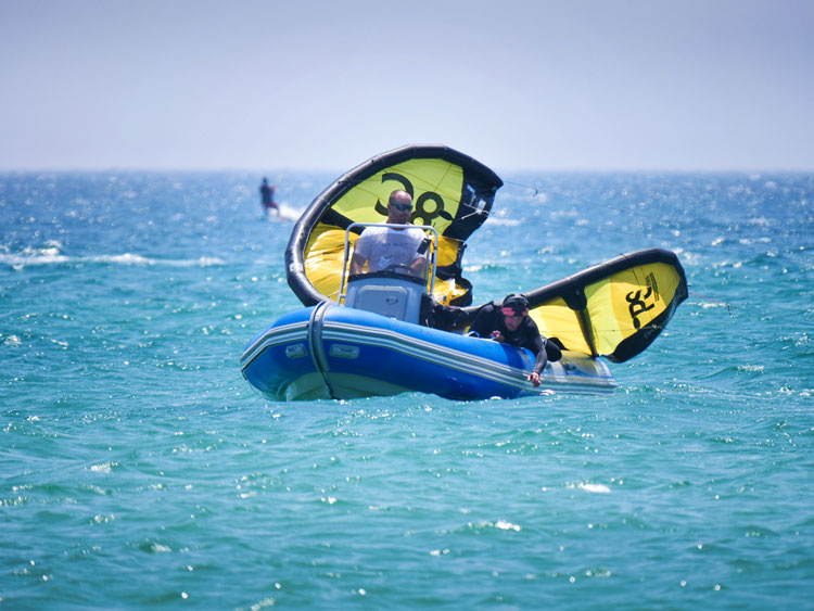 Rescue boat service during your full kitesurfing rental in Tarifa.