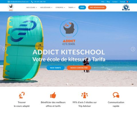 Discover the recently rebuilt website of Addict kite school Tarifa.