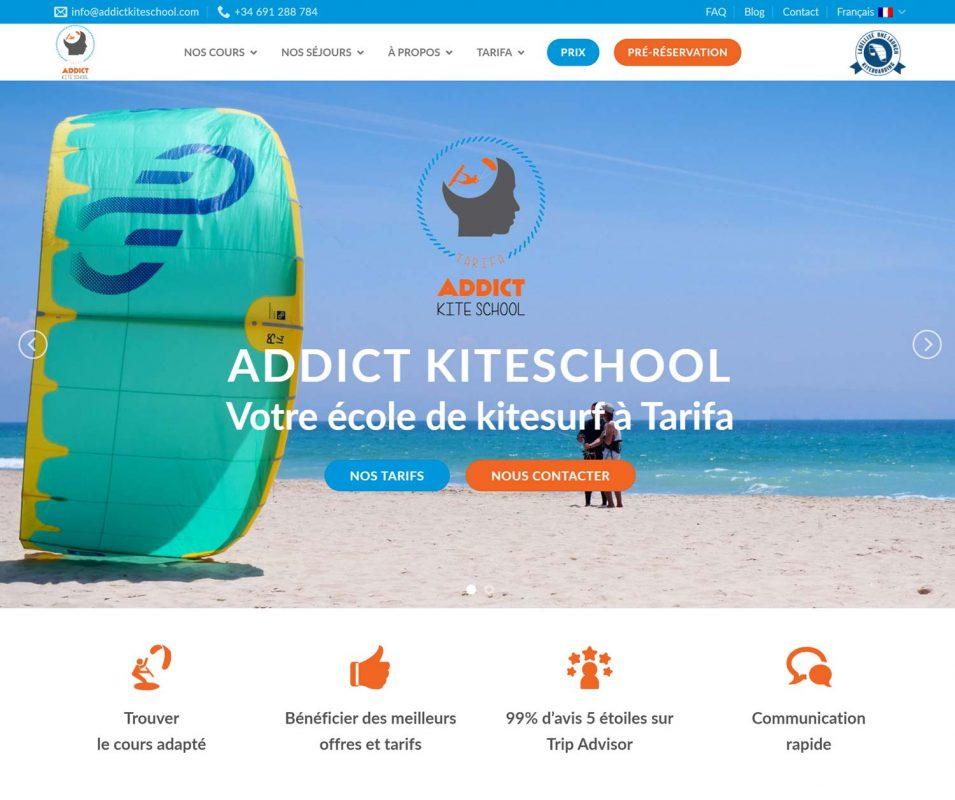Hemos reformado por completo la página web de Addict kite school Tarifa.
